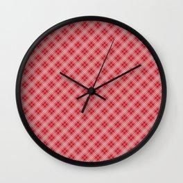 Christmas Red Poinsettia Tartan Check Plaid Wall Clock