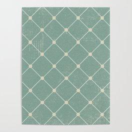 Mint Blue Vintage Texture Argyle Poster