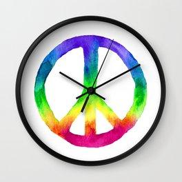 Rainbow Watercolor Peace Sign Wall Clock
