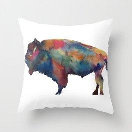 Watercolor Buffalo Bison Throw Pillow