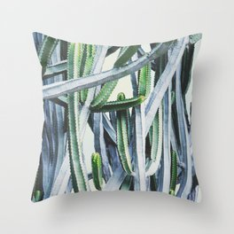 Green Crush Cactus I Throw Pillow