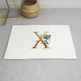 Golden ethereal floral monogram - X Rug
