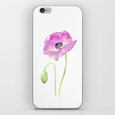 Flower Purple Poppy Floral Watercolor iPhone & iPod Skin