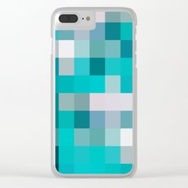 blue,gray,navy squares(sea colors) Clear iPhone Case