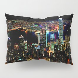 Hong Kong City Skyine Black Night Pillow Sham