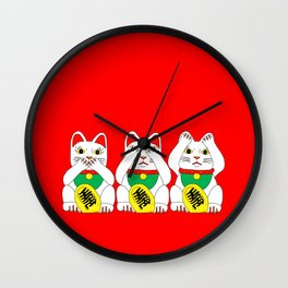 Three Wise Lucky Cats on Red Wall Clock