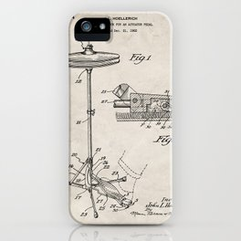 Hi Hat Drum Patent - Drummer Art - Antique iPhone Case