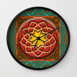 Celtic Knotwork panel in Persian Green Wall Clock