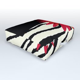 Animal Print Zebra Black and White and Red flower Medallion Outdoor Floor Cushion