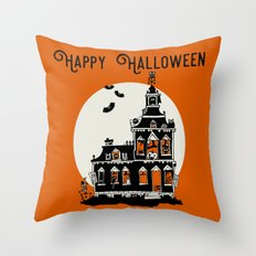 Vintage Style Haunted House - Happy Halloween Throw Pillow