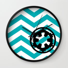 Imperial Cog on Blue Chevrons Wall Clock