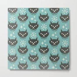 Retro Mid Century Modern Cat Pattern 321 Turquoise Metal Print