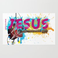 jesus Area & Throw Rugs featuring Jesus by Eva777