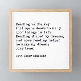 RGB, Reading Is the Key That Opens Doors, Motivational, Quote Framed Mini Art Print