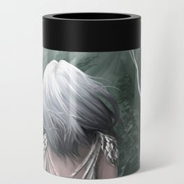 Girl  standing by a mountain Digital Art Painting Can Cooler