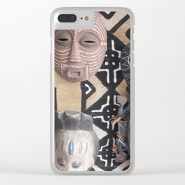 African Mask display on fabric collection Clear iPhone Case