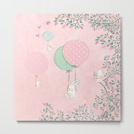 Cute flying Bunny with Balloon and Flower Rabbit Animal on pink floral background Metal Print