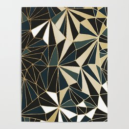 New Art Deco Geometric Pattern - Emerald green and Gold Poster