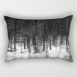 Winter Forest – Black and White Photograph by Tasha Johnson Rectangular Pillow