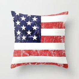 American Grunge Flag Throw Pillow