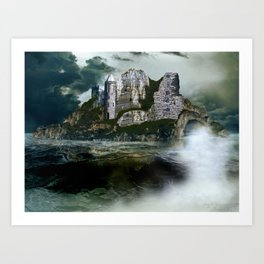 Stormy Sea Castle Island Art Print
