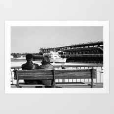 Couple by the Saint Lawrence. Montreal. 2013.  Art Print