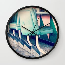 Retro Diner Photograph, kitchen art, restaurant decor, shabby chic, vintage, pastels, mint and pink Wall Clock