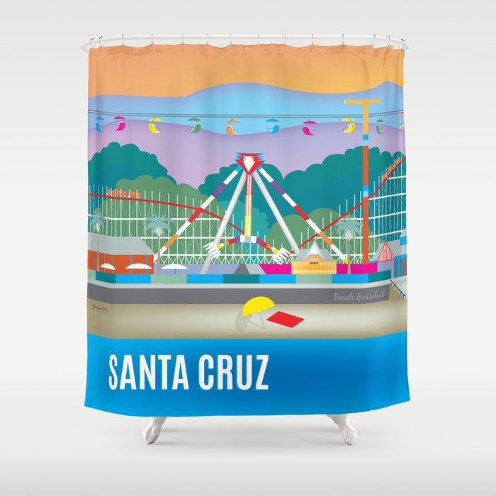 Santa Cruz, California - Skyline Illustration by Loose Petals Shower Curtain