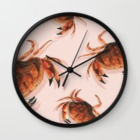 crab Wall Clocks featuring Crab by Trinity Mitchell