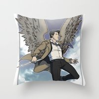 castiel Throw Pillows featuring Castiel by DeanDraws