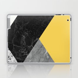Black and White Marbles and Pantone Primrose Yellow Color Laptop & iPad Skin