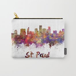 St Paul skyline in watercolor Carry-All Pouch