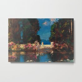 The Terrace (Secret Garden by the Lily Pond) by Thomas Mostyn Metal Print