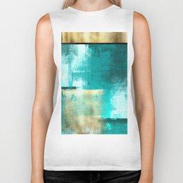 Minimal Abstract Deep Blue Seaside with Gold Biker Tank