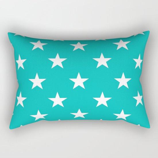 Stars (White/Tiffany Blue) Rectangular Pillow