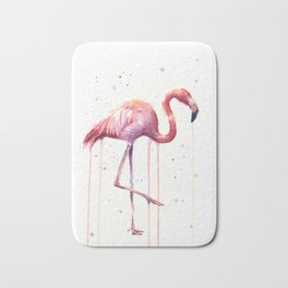 Pink Flamingo Portrait Watercolor Animals Birds | Facing Right Bath Mat