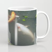 koi fish Mugs featuring Koi Fish by Elizabeth Boyajian