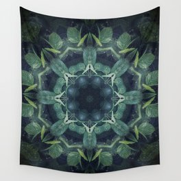 Mystical // Dark Green Plant Visionary Art Mandala Ayahuasca Sacred Geometry Psychedelic Trippy Wall Tapestry