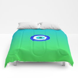 Single Evil Eye Amulet Talisman Ojo Nazar - ombre lime to tuquoise Comforters