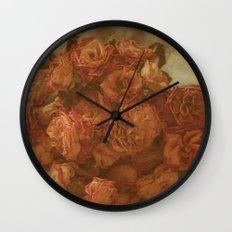 Old Orange Roses Wall Clock