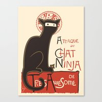 french Canvas Prints featuring A French Ninja Cat (Le Chat Ninja) by Kyle Walters