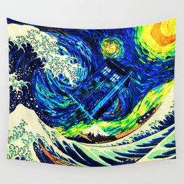 tardis starry night Wall Tapestry