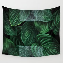 tropical green pattern on black Wall Tapestry