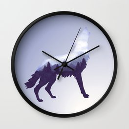 Wolf Double Exposure Surreal Wildlife Animal Wolves Gifts Wall Clock