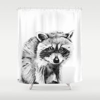 raccoon Shower Curtains featuring Raccoon by Trey Crim