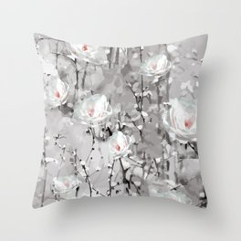 White Snow Flowers Throw Pillow