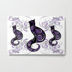 Swirly Cats Metal Print