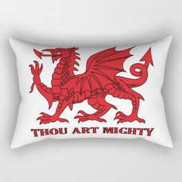 Thou Art Mighty Red Dragon Welsh Rugby Rectangular Pillow