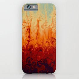 Fiery marble abstract pattern digital illustration  iPhone Case