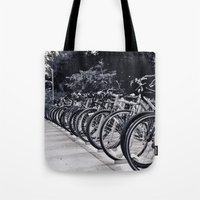 bikes Tote Bags featuring Bikes by Kayla Gomez